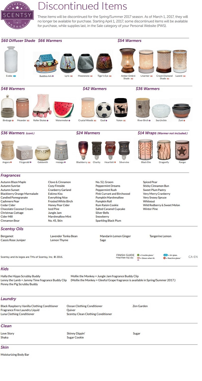 Discontinued Items List - Scentsy Spring and Summer 2017